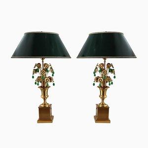 Lampes de Bureau Mid-Century en Verre Vert avec Fleurs en Métal de Maison Jansen, France, 1970s, Set de 2