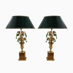 Mid-century French Green Glass Table Lamps with Metal Flowers from Maison Jansen, 1970s, Set of 2
