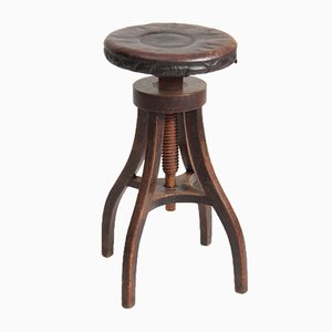 "Adjustable Artist""""s Stool in Oak and Patinated Leather, 1930s"