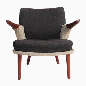 Chaise longue de tela y teca de Ib Kofod Larsen para Christensen & Larsen, años 50