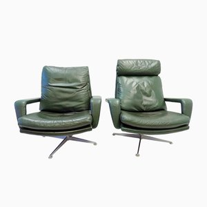 Green Leather Lounge Chairs by Kaufeld for Kaufeld, 1960s, Set of 2