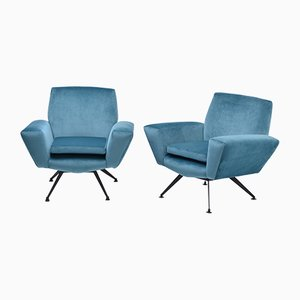 Mid-Century-Modern Model 530 Lounge Chairs from Lenzi, 1950s, Set of 2