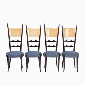 Esszimmerstühle mit Hoher Rückenlehne von Aldo Tura, 1970er, 4er Set