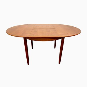 Mid-Century Danish Round Teak Extendable Dining Table, 1960