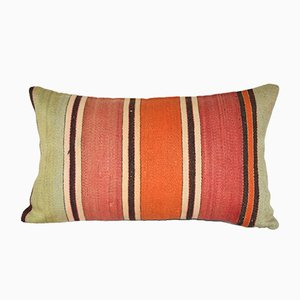 Turkish Lumbar Hand-Woven Kilim Cushion Cover