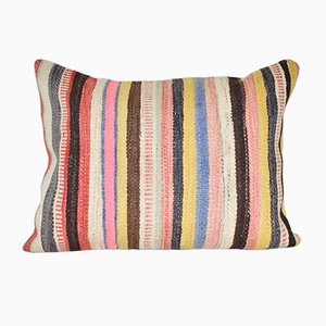 Striped Turkish Lumbar Kilim Cushion Cover