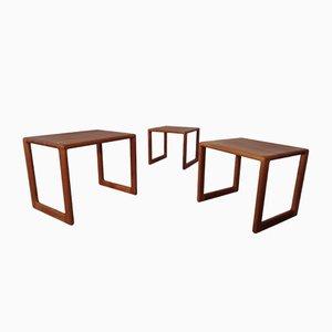 Danish Solid Teak Nesting Tables, 1960s, Set of 3