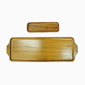 Swedish Solid Teak Trays from Karl Holmberg AB , 1960s, Set of 2.