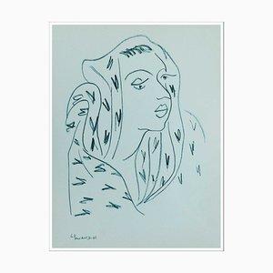 Henri Matisse (d'après) , La Femme Au Foulard, 1943 , lithograph