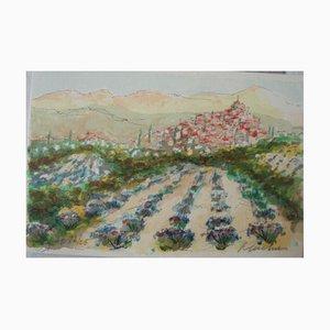 Urbain Huchet, Paysage De Provence, Signierte und Nummerierte Lithographie