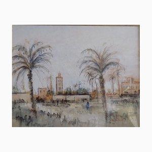 Jean,michel Noquet Oriental Landscape Gouache on Paper
