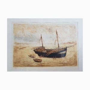 Michel Ciry , Boats at Low Tide , Signed and Numbered Lithograph