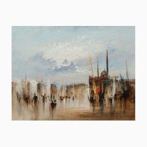 Jean,michel Noquet , Venetian Ballet in the Lagoon , Hand Signed Oil on Plate