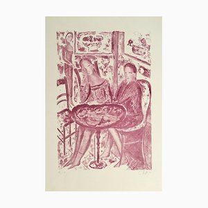 Claire Astaix , the Two Friends, 1980, Original Signed Lithograph