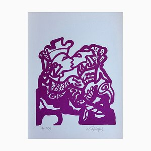 Charles Lapicque , Bénédiction Maternelle, 1966, Original Lithograph, Signed and Numbered