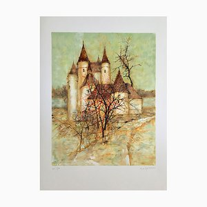 Michel De Gallard , Le Château De Val, 1999, Original Lithograph, Signed