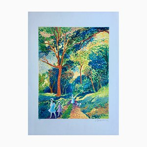 Litografia originale firmata Lucien Neuquelman, Forest Trip
