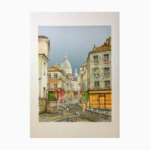 Jean Keime , Montmartre , lithograph original signature Au Crayon