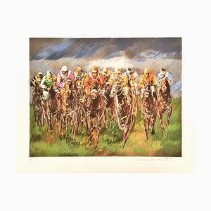 Guy Buffet , Galloping, 1980, Original Signed Lithograph