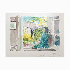 Daniel Du Janerand , at the Window, 1987, Original Signed Lithograph