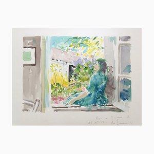 Litografia originale firmata Daniel Du Janerand, alla finestra, 1987