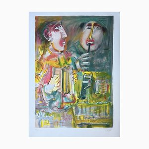 Blasco Mentor , Deux Musiciens, 1990, Original Lithograph, Signed