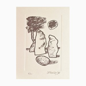 Litografia originale firmata Corneille, Les Menhirs, 1998