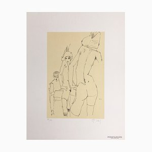 Egon Schiele (after) , Nude With Mirror, 1910 , Signed Lithograph
