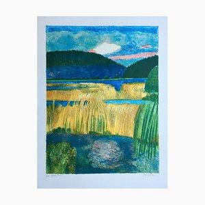 Guy Bardone , Reeds at Lake Chanon, 1984, Original Signed Lithograph