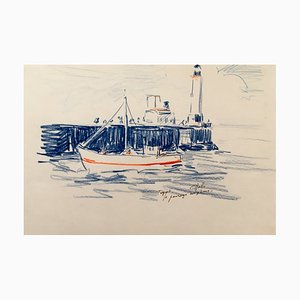 Charles Malle, Tréport, Passing the Lighthouse, handsignierte Pastell Zeichnung