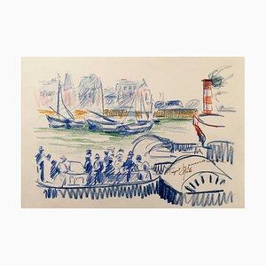 Charles Malle, Tréport, La Promenade En Mer, Pastell, originale Signatur