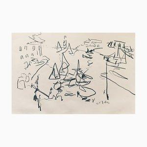Charles Malle , Honfleur, La Passe , Pastel , original signature