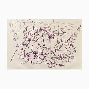 Charles Malle , Le Tréport, Pastel , original signature