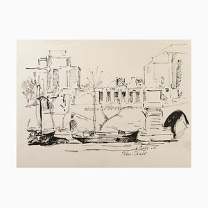 Charles Malle , Palais De Chaillot, Paris, 1988 , Signed Drawing