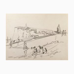 Charles Malle , the Tréport, 2004 , Original Signed Drawing