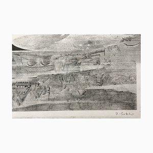 Dominique Sosolic, La Ville, Fumée et Bruits de Métiers, 1988, firma originale Gravure