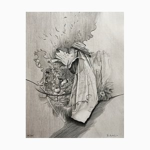 Dominique Sosolic, Fleurs, 1988, Tiefdruck Originalunterschrift