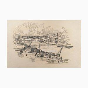 Charles Malle , Bord De Seine , Drawing , original signature