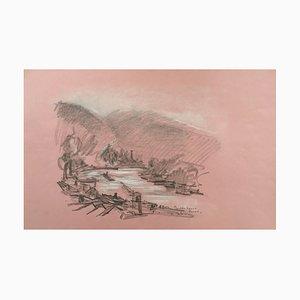 Charles Malle , Seine Riverbanks, Rouen , Original Signed Drawing
