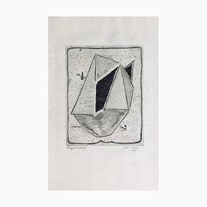 Roger Viellard, Kleines Boot, Signierte originale Radierung