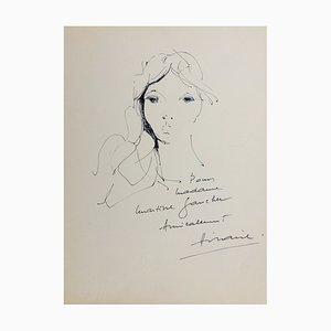 Camille Hilaire, Portrait, 1972, signierte originale Zeichnung