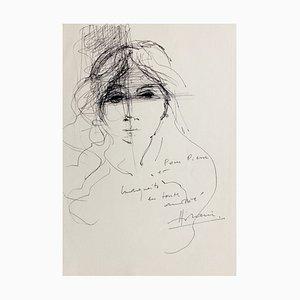 Camille Hilaire , Portrait, 1975 , Original Signed Drawing