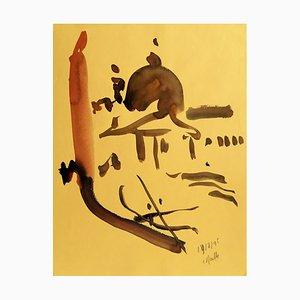 Charles Malle , Venise, 1995 , Aquarelle original signature