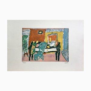 Jean Pougny, Intérieur, 1955, Originale Lithographie