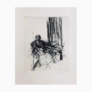 Claude Weisbuch, Portrait Assis, 1975, Pointe, sèche Originalsignatur