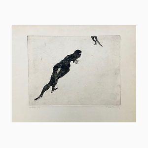 Claude Weisbuch , Le Patineur, 1950, Pointe,sèche original signature