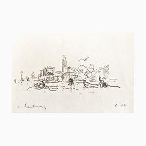 André Hambourg , Burano, 1977, Original Drawing, Signed