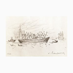 André Hambourg , Vers Le Campanile, Venise, 1977, Original Drawing, Signed