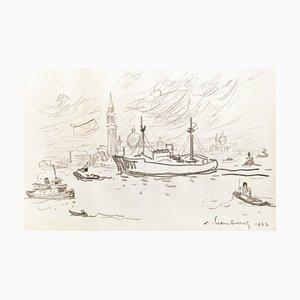 André Hambourg , Navire Devant San Giorgio, Venise, 1977 , Original Signed Drawing