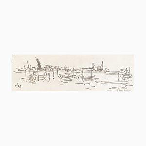 André Hambourg, La Lagune, Venise, 1959, Disegno originale, Firmato